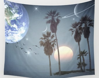 Longing Wall Tapestry, Palm Trees Large Size Wall Art, Surreal Tapestry, Modern Decor, Nature, Outdoor, Garden, Beach Hut Decor, Space,Earth
