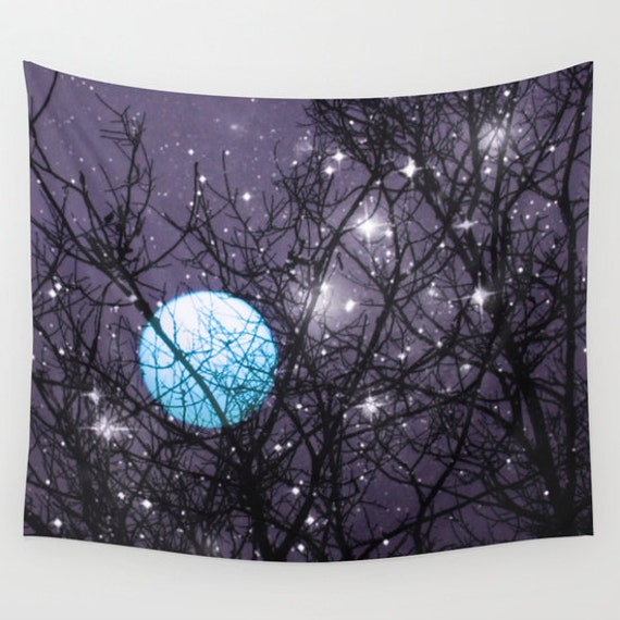 Blue Moon Wall Tapestry, Stars Tapestry, Night Sky Home Decor, Nature Tapestry, Wall Tapestry, Whimsical Tree Branches,Woodland, Woods, Dorm