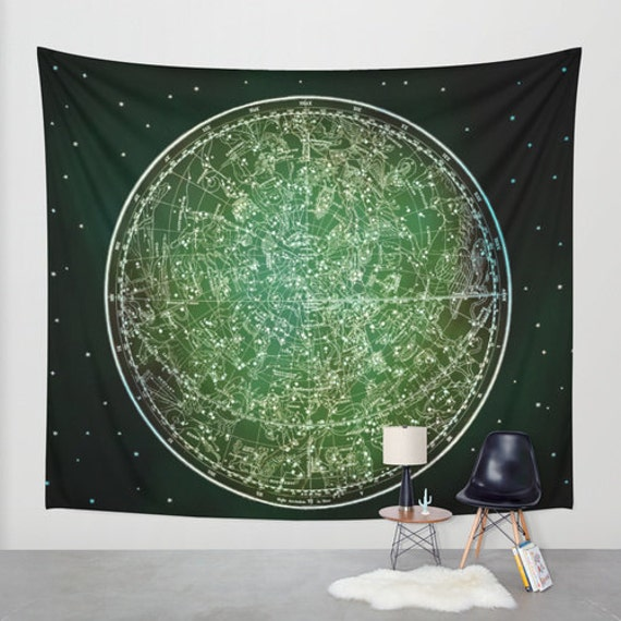 Zodiac Star Map Tapestry Vintage Star Map Large Size Wall