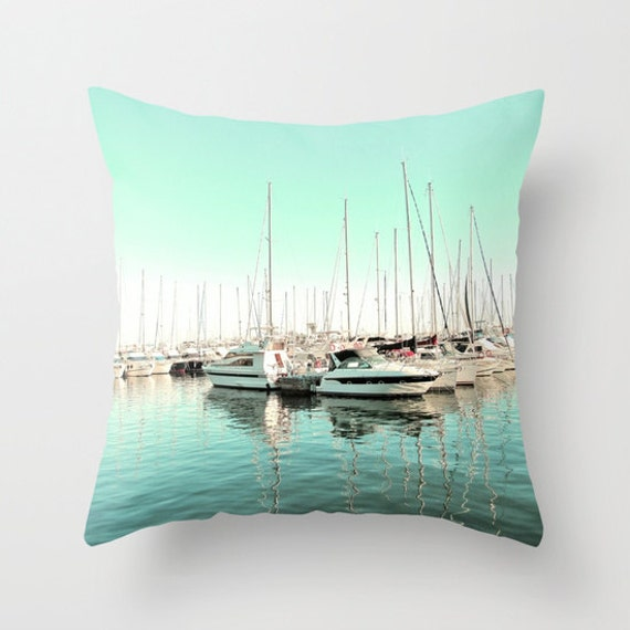 Marina Throw Pillow, Mint Pillow, Outdoor, Patio, Yacht Decorative Pillow, Nature Cushion, Wedding Gift, Nautical, Boat, Ocean, Beach, Surf