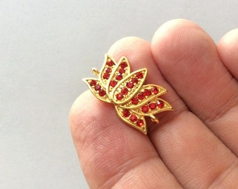 1 pc- Matte Gold Plated Authentic Lotus Rhinestone connector-24x12mm-(018-064GP)