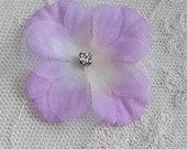 36 pc Rhinestone Beaded Flower Applique LAVENDER Baby Hydrangea Petal Bow Bridal Accessory