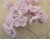 18 pc Hand Dyed PINK Wired Organza Rhinestone Pearl Beaded Flower Applique Bridal Wedding Bouquet