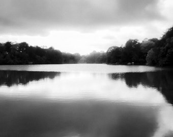 Black and White Nature Photography Fine Art Waterscape, Lake in the Evening Landscape, Storm Clouds over the Lake