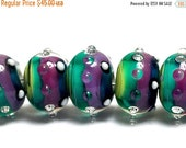 ON SALE 35% OFF New! Handmade Glass Lampwork Bead Sets - 11008701 Seven Begonia Stripes Rondelle Beads