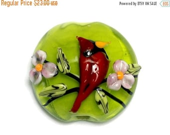 ON SALE 50% OFF 11834402 Spring Red Cardinal Lentil Focal Bead - Handmade Glass Lampwork Bead