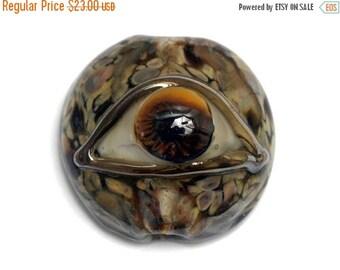 ON SALE 50% OFF Brown Eyed Lentil Focal Bead 11830402 - Handmade Lampwork Bead
