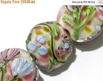 ON SALE 50% OFF Glass Lampwork Bead Set - Seven Light Pink w/Blue Floral Lentil Beads 11005402