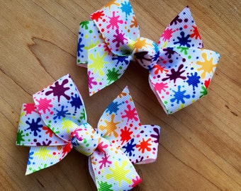 Paint party hair Bow - paint party, paint birthday party, art party, art hair bow, art birthday party, paint party favor, paint loot bags