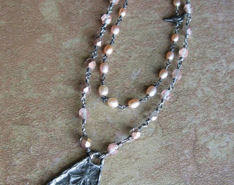Rustic Vintage Look Pewter Pendant Wire Wrapped Pearl and Czech Glass Long Necklace