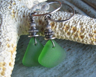 Bright Green Seaglass Earrings in Sterling Silver - The Cortez Collection
