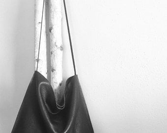 Midnight Pebble Leather Hobo Bag