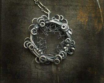 Silver Web Pendant, Spiderweb Jewelry, Constructivism Wearable Art, Avant Garde Jewelry, Mens Womens Unique Gift, Handmade Artisan Bold