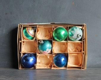 Vintage Shiny Brite and Fantasia Poland Glass Ornaments, Set of Six, Sixties Retro Christmas Cobalt Blue Green