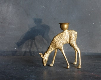 Small Brass Deer Taper Candle Holder, Woodland Rustic Mid Century Candleholder, Holiday Christmas