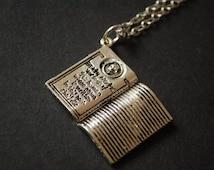 silver tone death note book necklace
