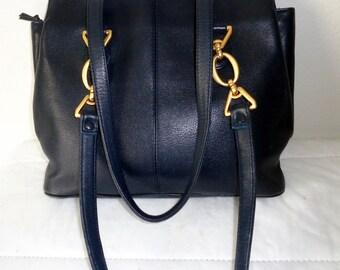 Jane Shilton England soft genuine leather bag , roomy satchel , tote, purse with dual straps ,top zipper closure, vintage 80s MINT condition