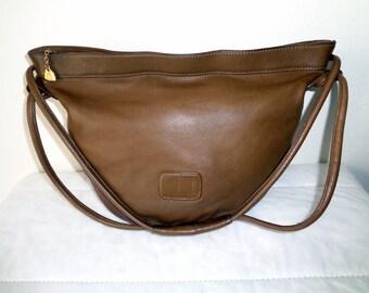 Brio  purse soft luxury thick leather hobo bag  satchel purse handbag in sage brown  vintage  pristine condition