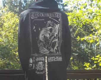 Black Unisex Military Style Steampunk Jacket with Punk Thrasher Metal Patches Handsewn DIY Free US Shipping OlyTeam