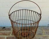Antique Vintage Metal Farm Basket Vintage Egg Basket Vintage Industrial Basket Antique Primitive Basket