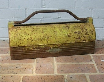 Antique Vintage Craftsman Tool Box Tool Chest Metal Craftsman Tool Box With Iron Handle