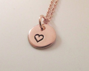 Tiny Rose Gold Heart Necklace - Rose Gold Everyday Necklace - Mini Charm Necklace - Rose Gold  Filled Jewelry