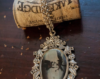 Scavenge the Riches - Ornate Gothic Raven art pendant, crow necklace charm, wearable art, silver finish, bridesmaids gifts