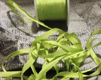 5 yards of 4mm silk ribbon in lime green color #639