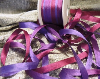 4mm variegated plum and fuschia silk ribbon #124 3 yards