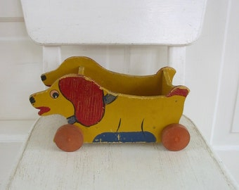 Vintage Wood Pull Toy, Antique Wood Toy, Wood Toy Dog, Handmade Toy, Twenties