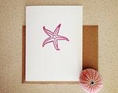 Vintage Plum Starfish Letterpress Card