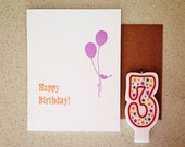 Birdie Balloon Letterpress Happy Birthday card
