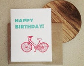 HAPPY BIRTHDAY Letterpress Bike Card