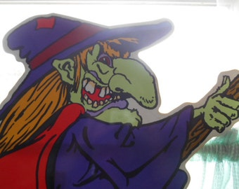 Vintage Halloween Green Face Wicked Witch flying on a broom Yard Sign on a stick