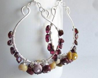 Big Bohemian Hoop Earrings - Jasper and Garnet Earrings - Hoop Earrings with Gemstones - Boho Chic - Boho Jewelry