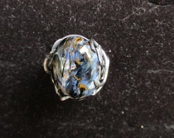 Sterling Silver Brutalist Pietersite Adjustable Vine Ring