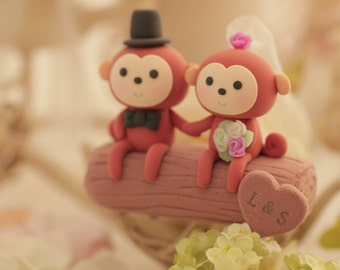monkey wedding cake topper---k757