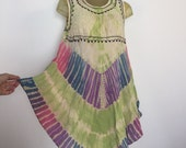 Embroidered Bohemian Dress, Tie Dye Dress, Boho Babydoll Dress, Mamta India Embroidered Dress, Hippie Dress, One Size M L XL Boho Mini Dress