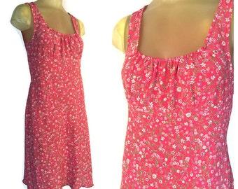 90s Floral Dress, Vintage Midi Dress, Red Summer Dress, Vintage 90s Dress, Sleeveless Midi Dress, Red Floral Sheath Dress, S M All That Jazz