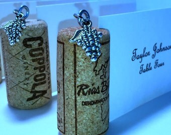 20 Place Card Holder Wine Corks All Natural Side Slit Opening Grape Charm Dangle Wedding Wine Event Dinner Party All Occasion
