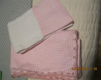 Baby Blanket and Burp Cloth Pink and White Checked