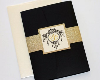 Gold Glitter Wedding Invitation, Elegant Wedding Invitation, Vintage Wedding Invitation, Vintage Glam, Black Ivory Gold - Gemma Sample