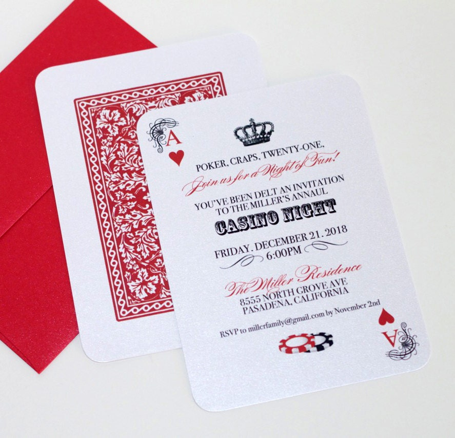 Casino Invitation Playing card Invitation Casino Night