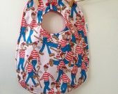 Wheres Waldo Baby Gift - Upcycled Bib from Vintage Sheets