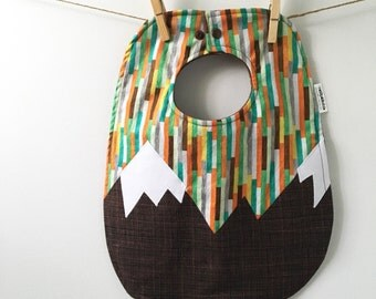 Mountain Baby Gift - Baby Bib with Snaps - Colorado Baby Bib - Oversize Baby Bib with Snaps - Toddler Bib - Gender Neutral Baby Gift