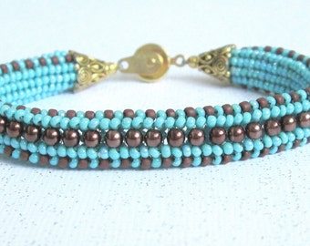 beaded aqua bracelet seed bead bracelet stackable bangle