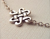 """Knot of Eternity Necklace - Celtic Knot Charm - 16"""" SS Chain - Celtic Love Knot - No beginning - No end - Celtic Choker - Celtic Jewelry"""