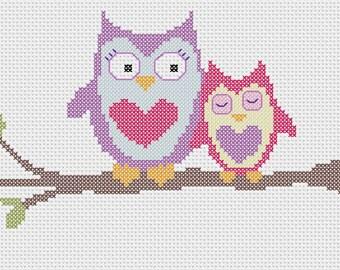 Owlie Love Cute Owl Cross Stitch Pattern Instant Download