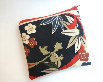 Japanese fabric, zipper pouch, cosmetic bag, zipper clutch, makeup bag, coin purse, wallet clutch, travel pouch, Geisha, gift for her