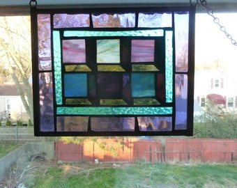 6 box Shadow Illusion quilt Panel in Stained Glass purples and blues